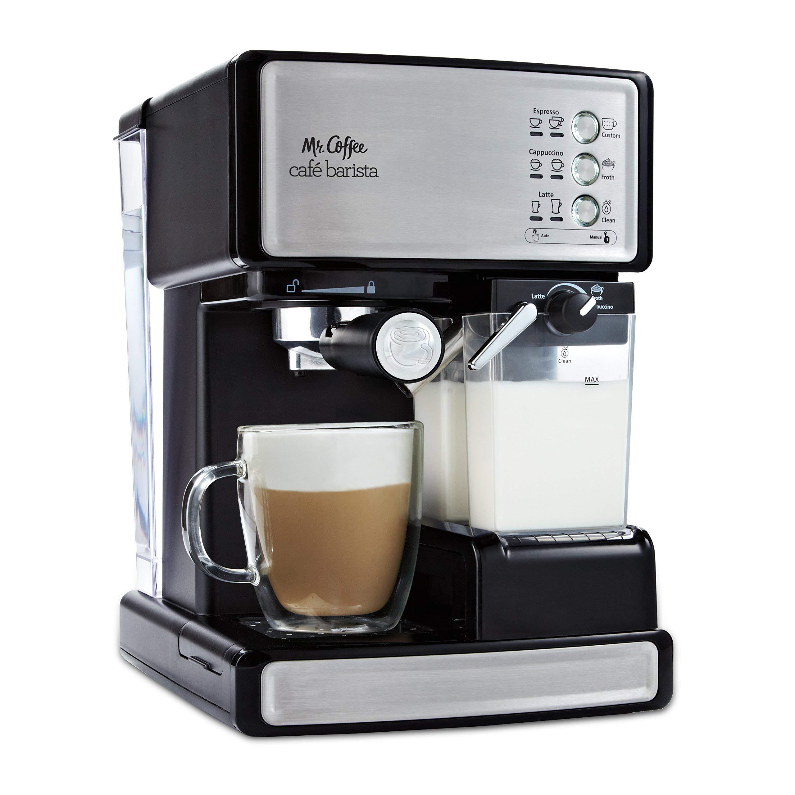 Mr. Coffee Cafe Barista Espresso and Cappuccino Maker, Silver (Renewed) by Mr. Coffee