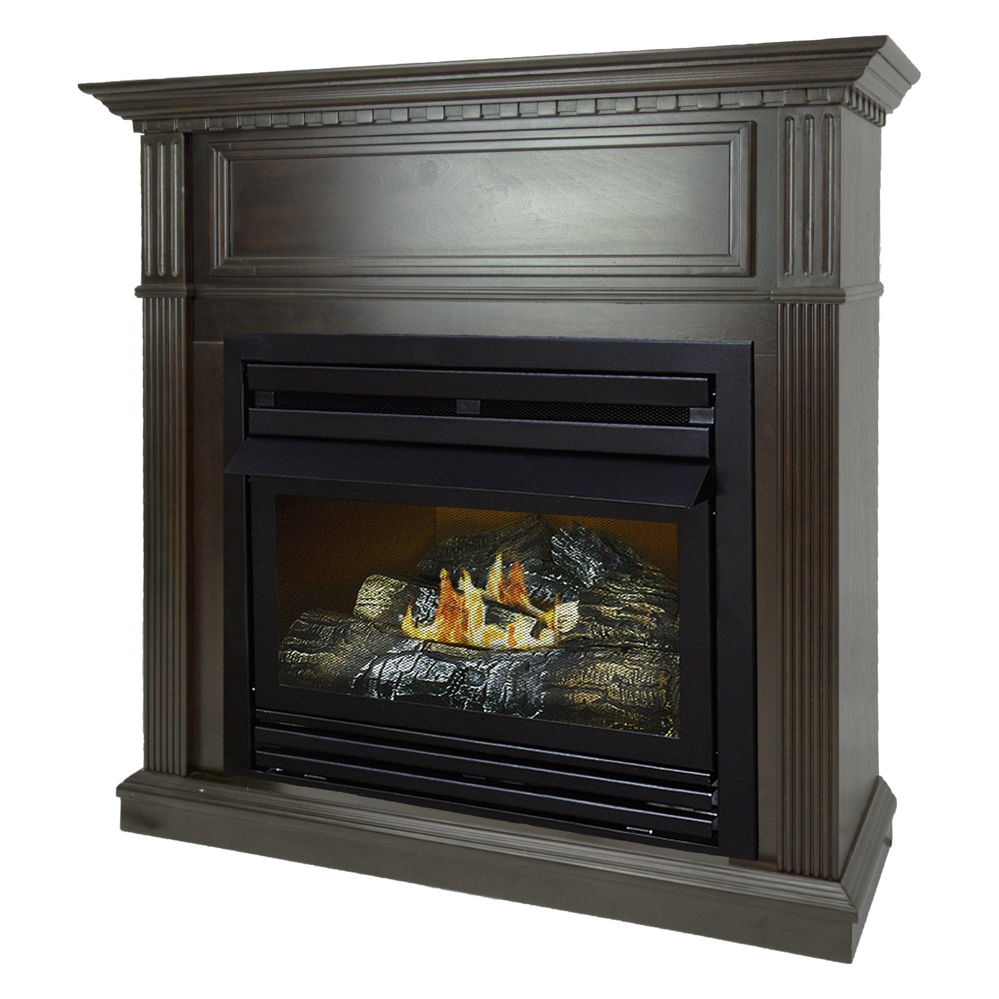 Pleasant Hearth 42 Intermediate Natural Gas Vent Free Fireplace System 27,500 BTU, Rich Tobacco by Pleasant Hearth