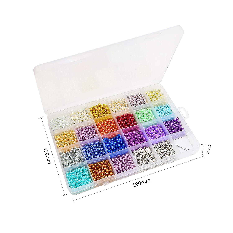 /Juego de 2800pcs 4/mm 20/colores perlas redondas cristal n/ácar para hacer joyas con 400pcs 4/mm cuentas espaciador TOAOB/