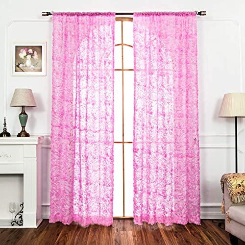 AmHoo 2 Panels 3D Rose Sheer Curtains Elegant Semi Draperies with Grommet Top Drapes Voile Panels Window Treatment for Living Bedroom Room Pink 53 x 96 Inch