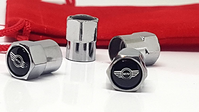 4 x Mini Auto-Ventil-Staubkappen mit rotem Samtbeutel