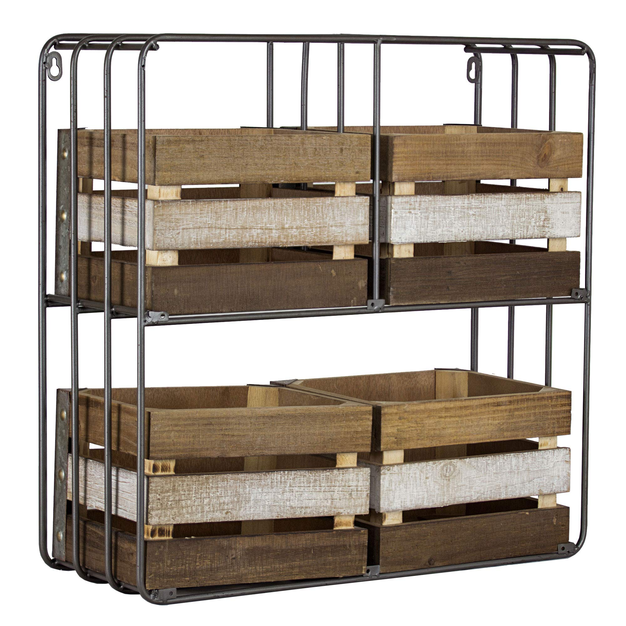 American Art Decor Shelf Organizer with Storage Crates - Vintage Country Farmhouse Decor
