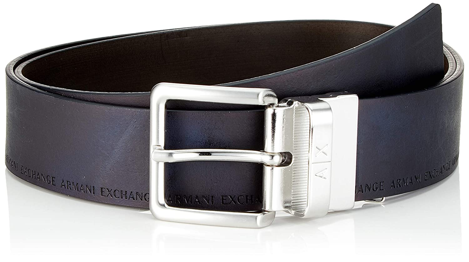 enorme sconto c152b 65488 ARMANI EXCHANGE Leather Belt with Plaque Cintura Uomo