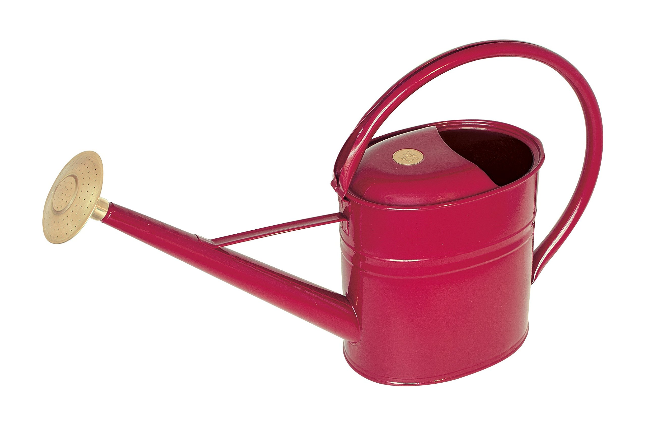 Haws Slimcan Metal Watering Can with Round Rose, 2-Gallon/8-Liter, Burgundy