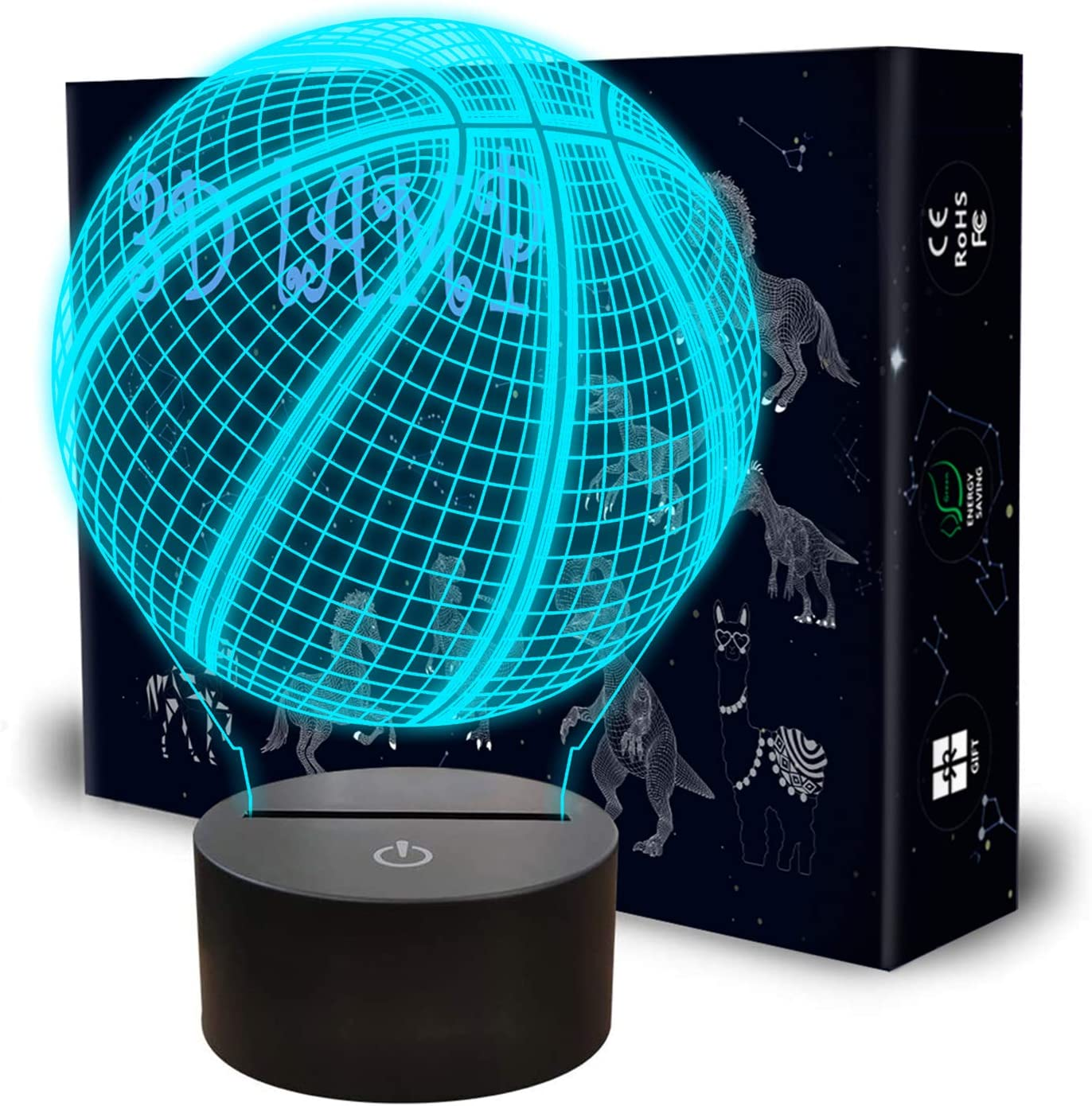 Basketball 3D Night Light, Llamaababie 3D Illusion Birthday Gift Lamp, 7 Colors Changing LED Lamps with Smart Touch for NBA Sport Lovers Kids Teen Boys Girls and Christmas Room Decoration (Basketball)