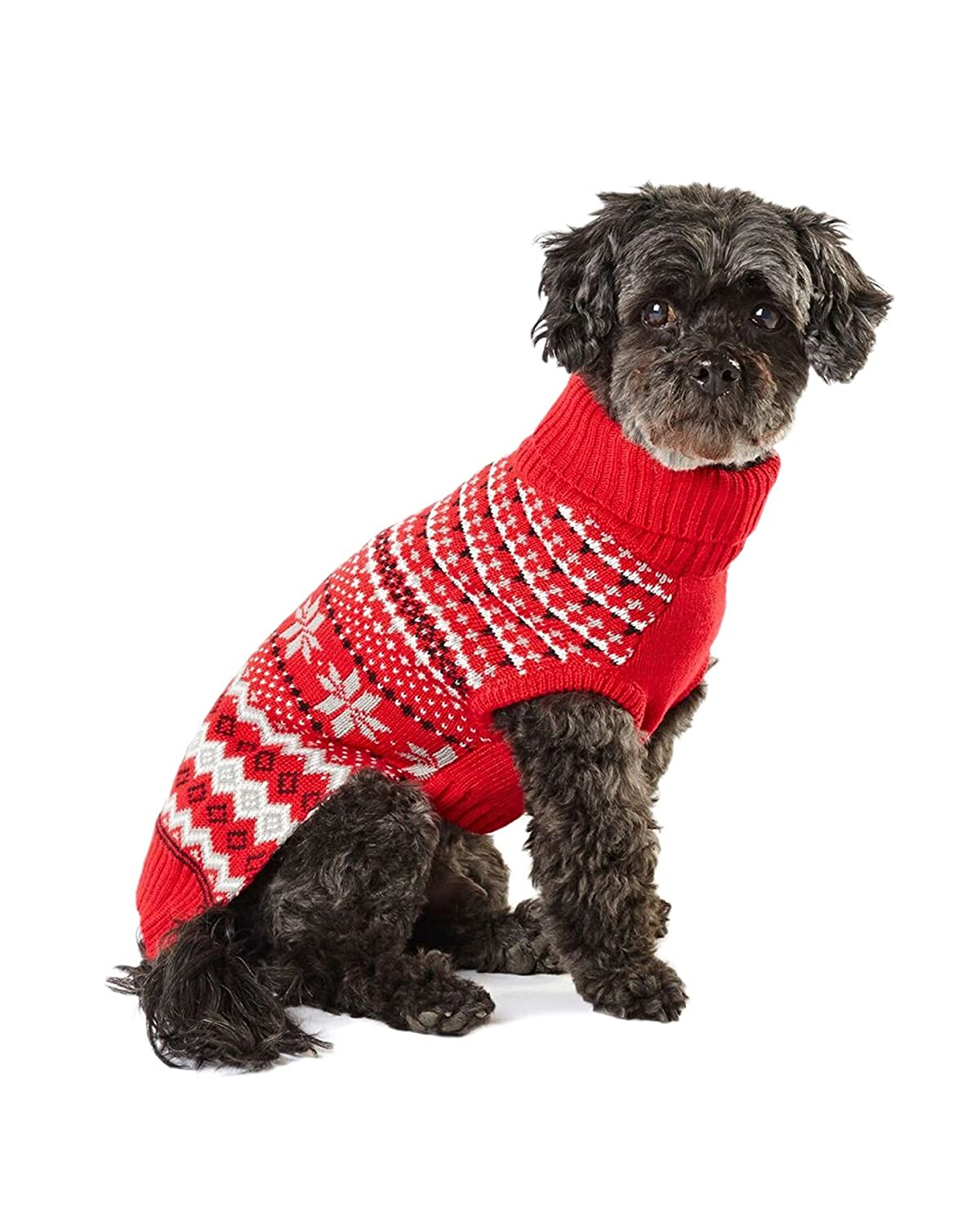 X-Small Hotel Doggy DW00004BPXSR Cranberry Red Intarsia Snowflake Sweater, X-Small