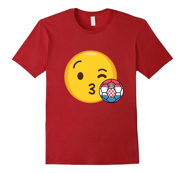 Emoji Loves Croatia Soccer T-Shirt Croatian Futbol Funny Tee