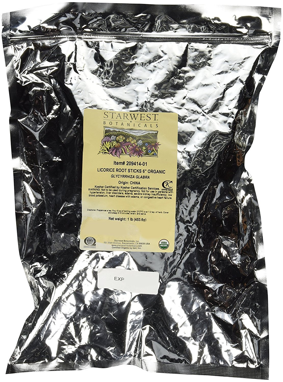 Starwest Botanicals Organic 6'' Licorice Root Sticks, 1 Pound