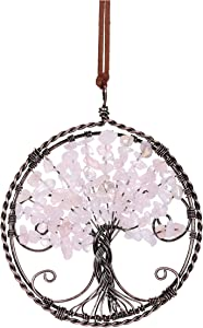 CrystalTears Rose Quartz Tree of Life Hanging Ornament Natural Reiki Healing Crystal Gemstone Wall Car Hanging Window Ornament for Home Office Decoration Meditation Good Luck