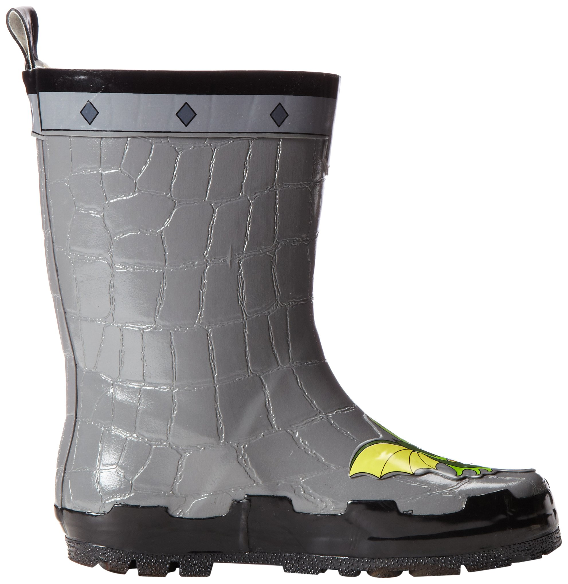Kidorable Boys' Dragon Knight Rain Boot, Grey, 2 (Young Adult Size)