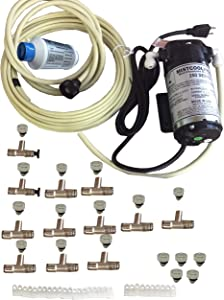 mistcooling System-12 Nozzle System Patio System-160 PSI Misting Pump, 50 ft Length, Beige Color Tubing
