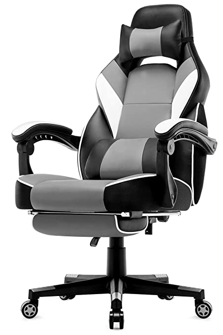 Miraculous Intimate Wm Heart High Back Racing Chair With Footrest Ergonomic Gaming Chair Premium Synthetic Leather Swivel Chair With Headrest Lumbar Cushion Machost Co Dining Chair Design Ideas Machostcouk