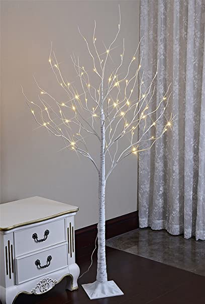 lightshare 6 feet lighted birch tree 72 led lights decoration for home wedding - Birch Christmas Decorations