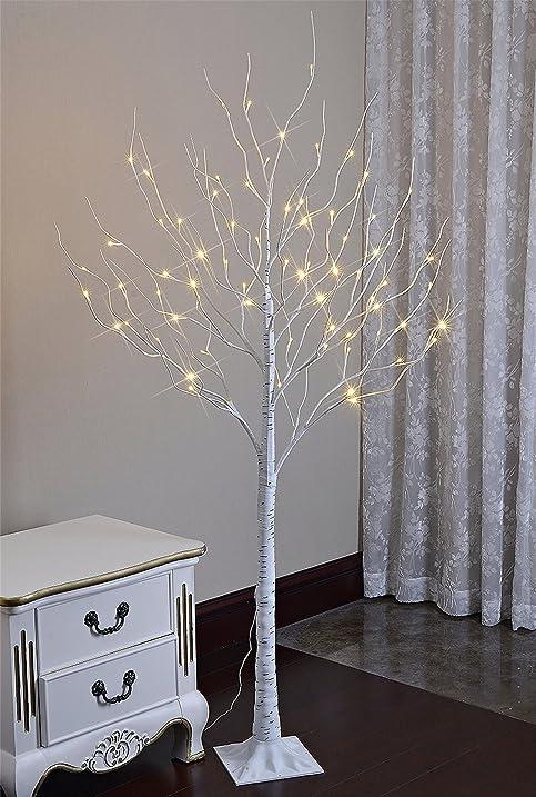 Amazon.com: Lightshare 6 Feet Lighted Birch Tree, 72 LED Lights ...