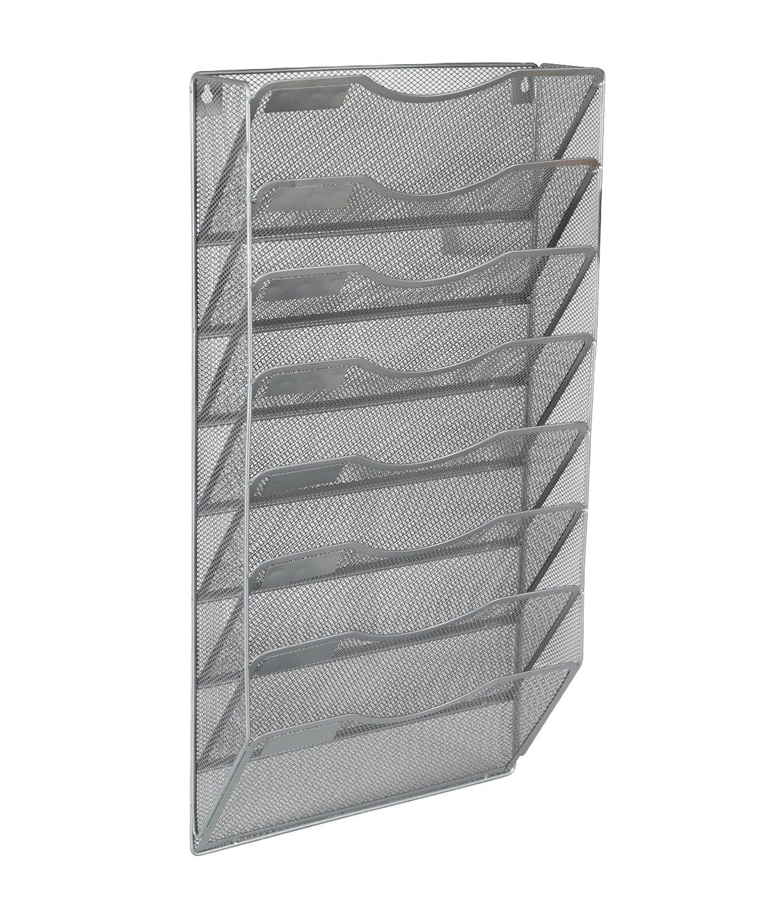 EasyPAG Office 8 Pocket Wall File Holder Organizer Hanging Magazine Rack,Silver