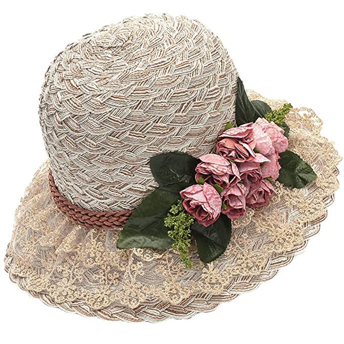 Edwardian Hats, Titanic Hats, Tea Party Hats Straw Hat Beach Sun Hat Casual Bucket Hat with Flower for Ladies $16.69 AT vintagedancer.com