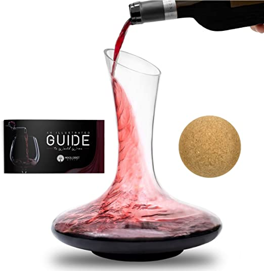 Cleaning Brush And Drying Stand Hand Blown Lead Free Glass Carafe Kit Perfect For Wine Enthusiast Wine Accessories In Deluxe Box Wine Decanter Aerator Set With Wood Stopper Industrial Scientific Food Service