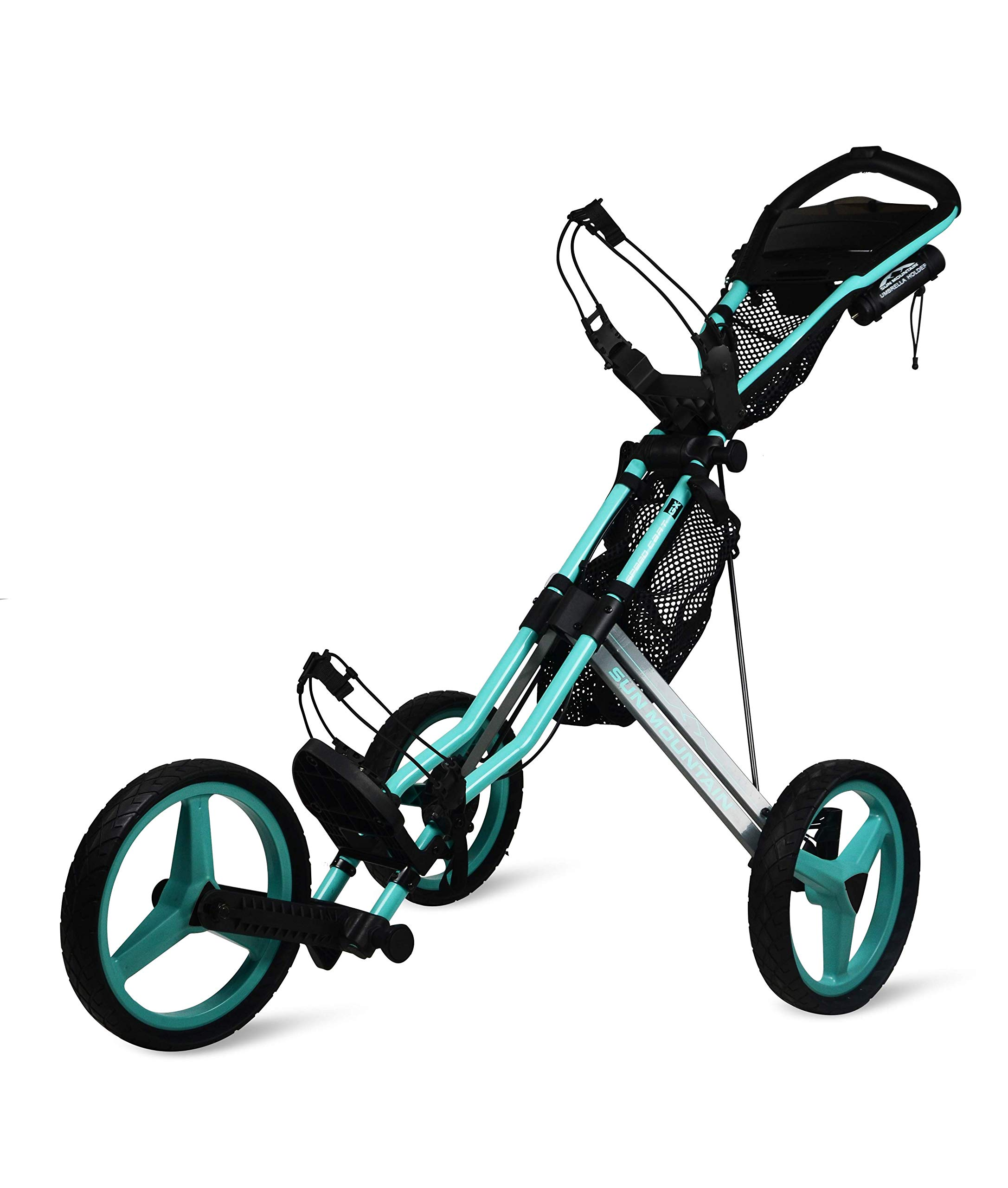 Sun Mountain Golf 2019 Speed Cart GX 3 Wheel Push Cart (Bahama/Steel Gray)