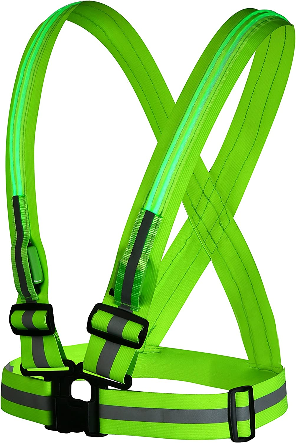 Safety Vest Yacig USB Rechargeable LED Reflective Safety Warning Vest for Outdoor Activities High Visibility with Double Illumination Strips - Green