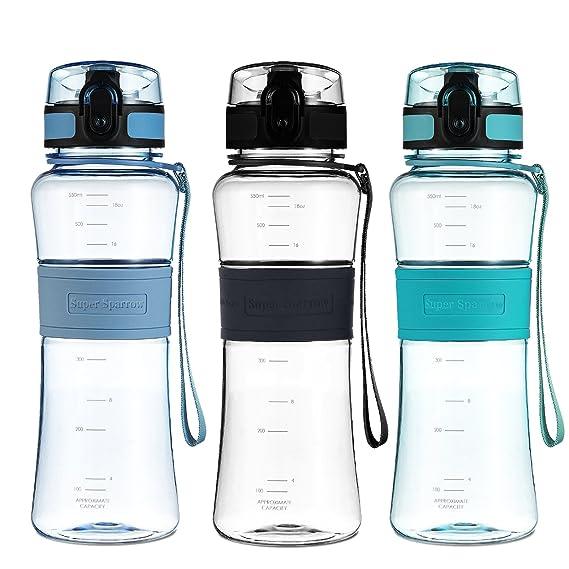 Super Sparrow Mejor Deportes Botella de agua - 550ml - Plástico ecológico y sin BPA - Para deportes, yoga, senderismo, viajes, oficina, universidad coche o ...