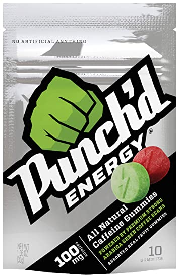 10-PACK Punchd Energy Natural Caffeine Gummies. Superfruit Gummies infused w/Premium Strong...