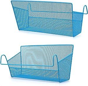 BTSKY New 2 Pack Metal Bedside Shelf Basket Dorm Room Bed Storage Basket Metal Mesh Desktop Corner Shelves Rack Shelf Bedside with Hook for Office Home Blue
