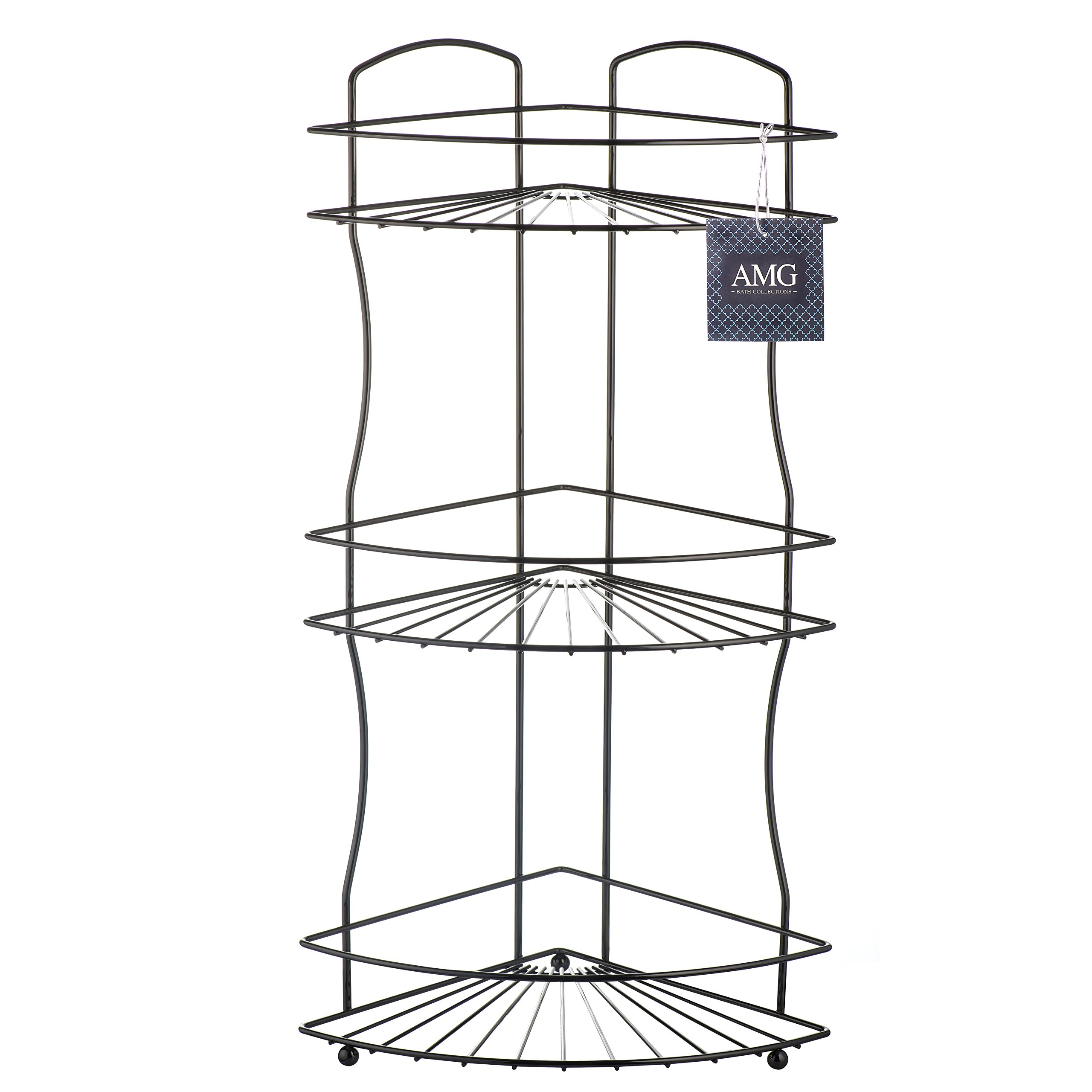 AMG and Enchante Accessories Free Standing Bathroom Spa Tower Floor Caddy, FC232-A BKN, Black Nickel by AMG (Image #8)