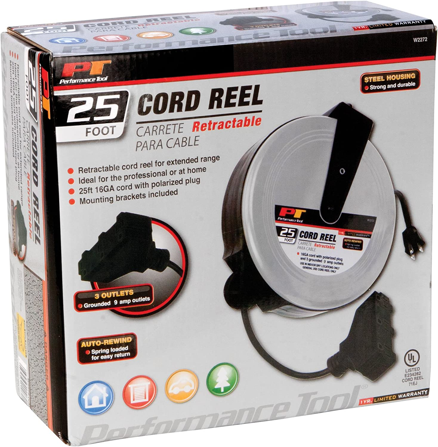 Performance Tool W2275 20 18GA Retractable Cord Reel with Spring Loaded Auto-Rewind