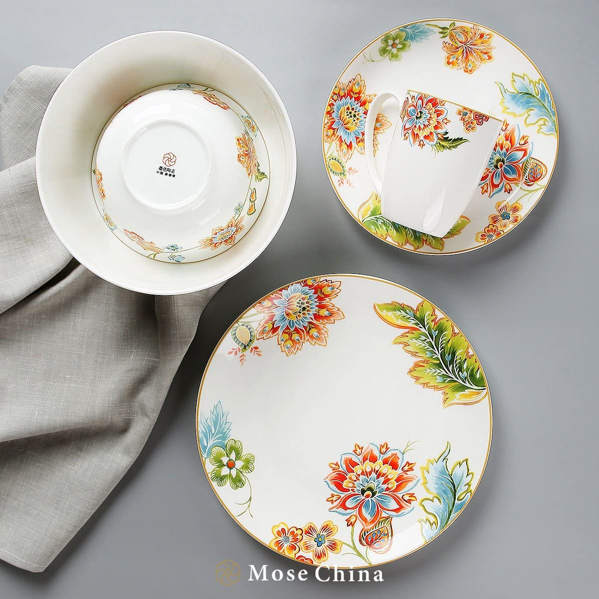 Mose China 6 - Piece Premium Bone China Porcelain Dinnerware Set