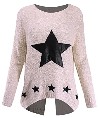 Ladies Code Womens Star Pattern Leather Patch Sparkle Knitted