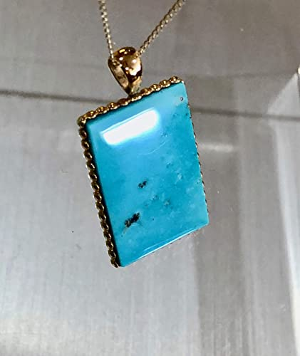 14k gold chain Turquoise and Pyrite Necklace