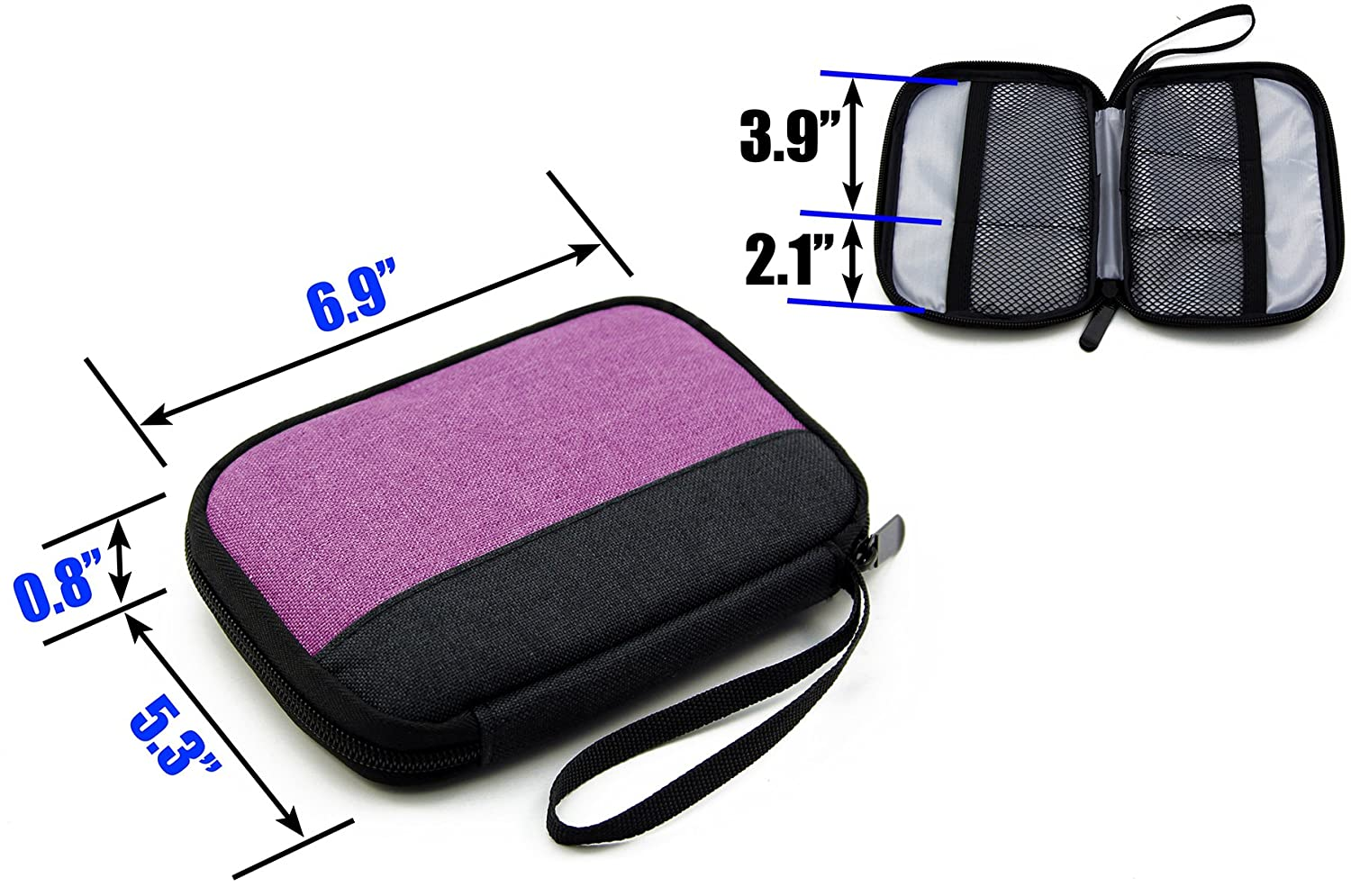 Amazon.com: Admirable Idea Small Electronic Organizer Pouch Zipper Travel Cosmetic Makeup Handbag Coins/USB/Hard Drive/Cables Carry Case with Hand Strap ...