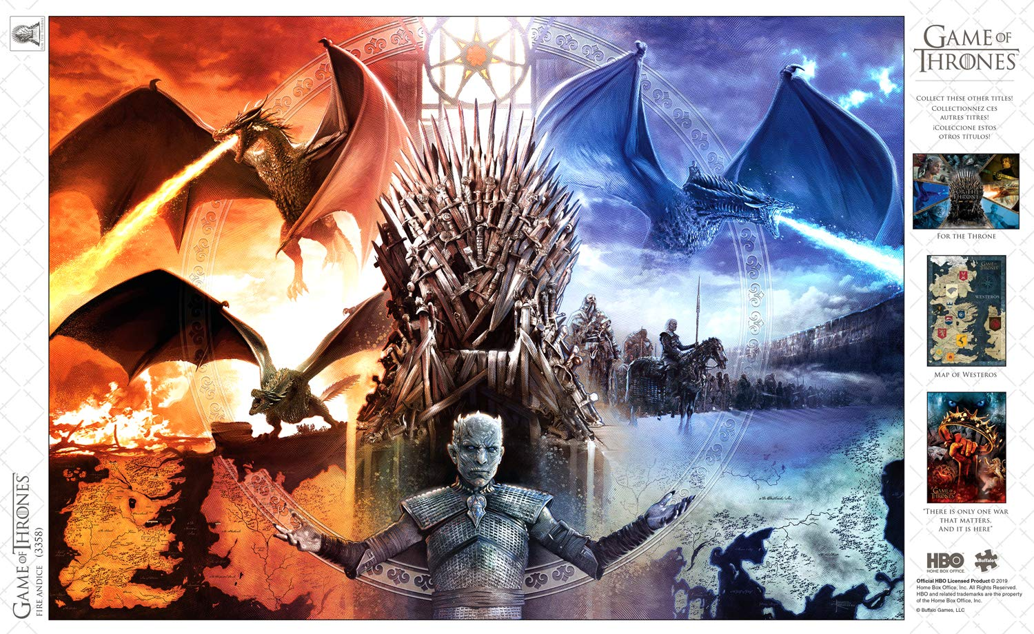Fire /& Ice 500Piece Jigsaw Puzzle Game of Thrones Buffalo Games