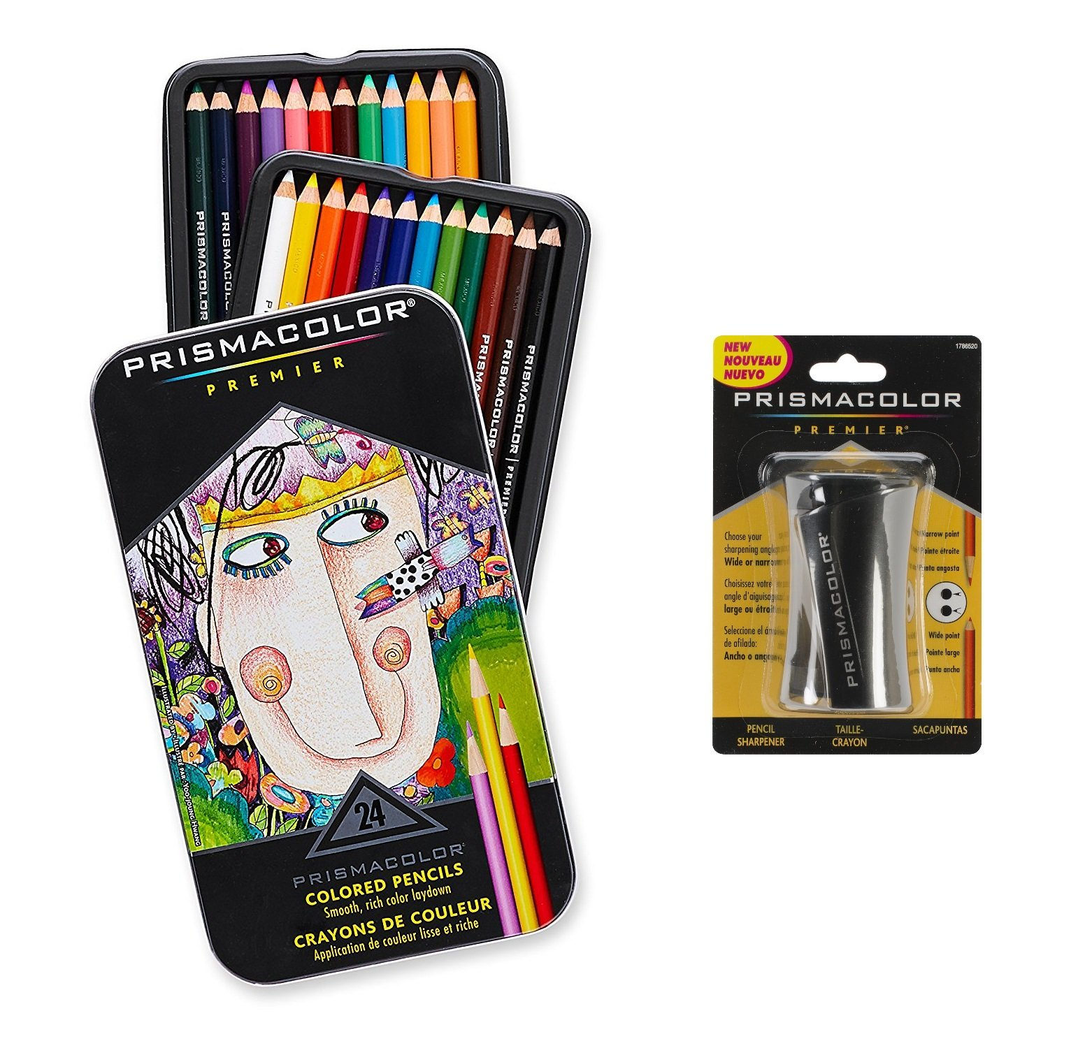 Prismacolor Premier Colored Pencils, Colored Pencils and Sharpener jAOHgg, 4Pack (24 Count)