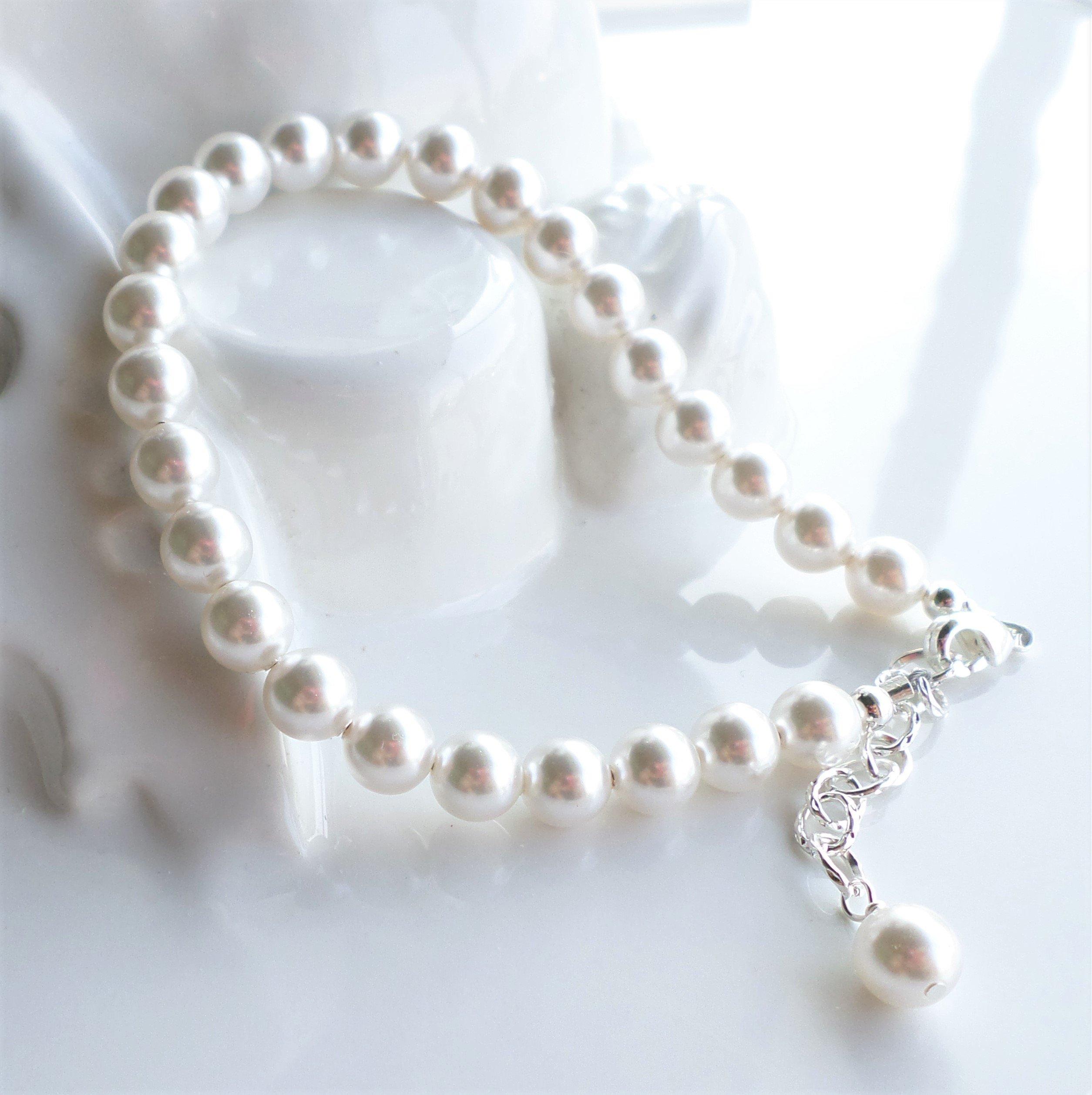 White Swarovski Pearl Bridal Wedding Bracelet