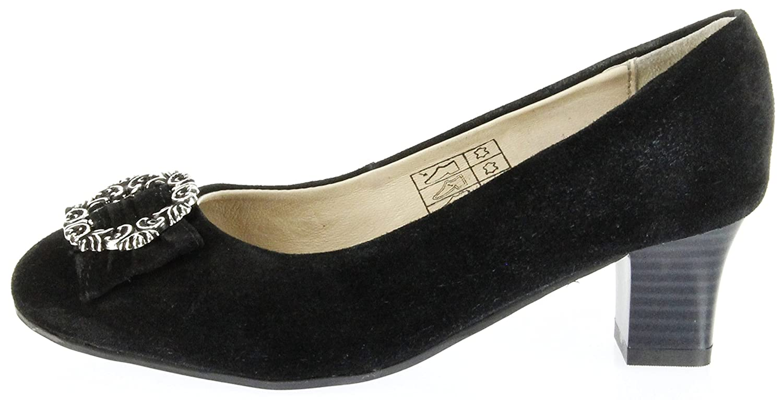 Trachten Pumps Schwarz Velourleder Damen Schuhe Luise, Größe:37, Farbe:Schwarz Bergheimer Trachtenschuhe