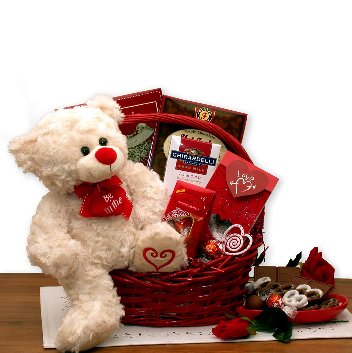 Be My Valentine -Valentine's Day Gift Basket with Teddy Bear: Amazon.com: Grocery & Gourmet Food