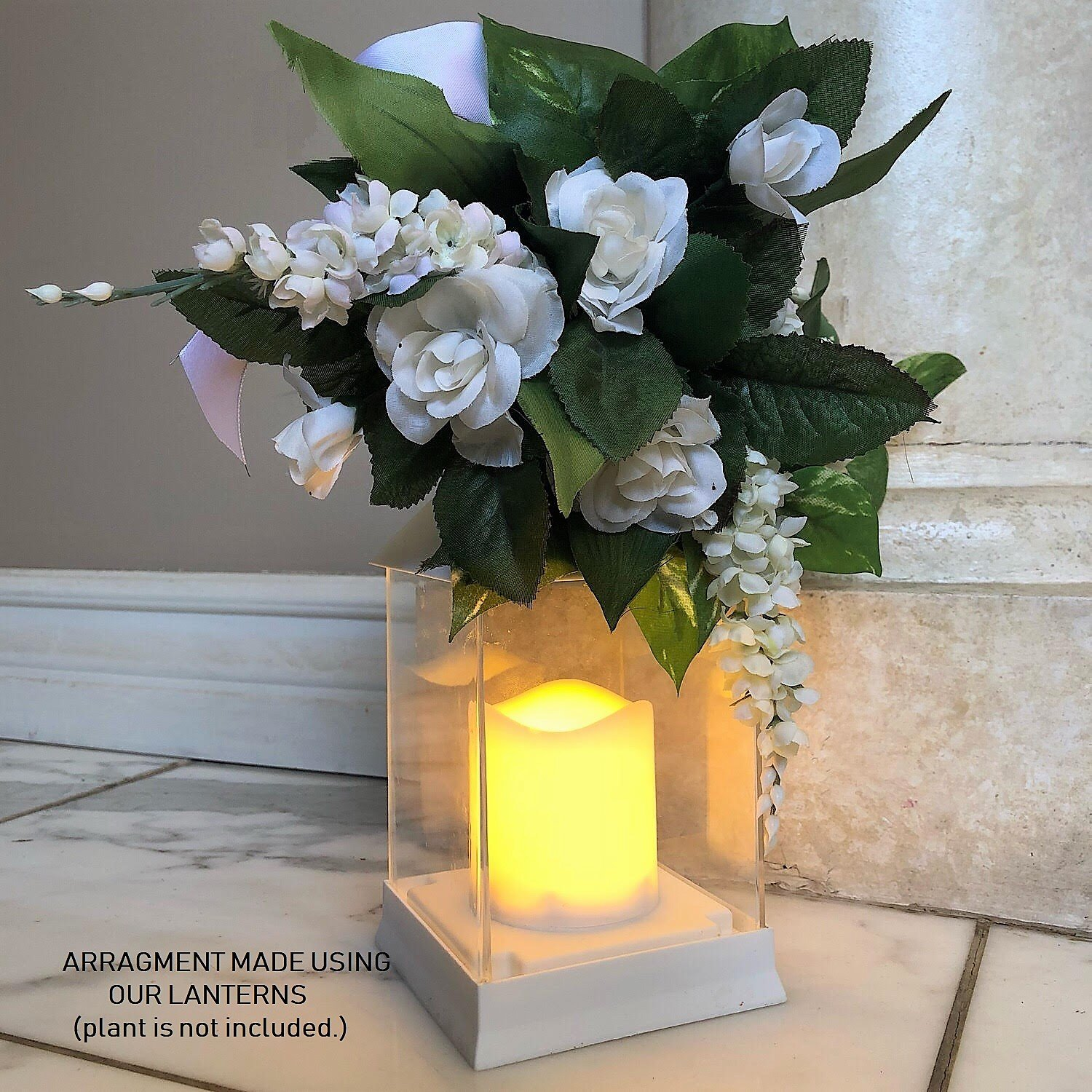 Just In Time for Spring {12 Pc SET} - 10'' Decorative Lanterns With Flameless LED Lighted Candle 5 Hr Timer Modern Look Indoor Outdoor Home, Garden, Weddings - Includes Bonus String Lights! White. by The Nifty Nook (Image #7)