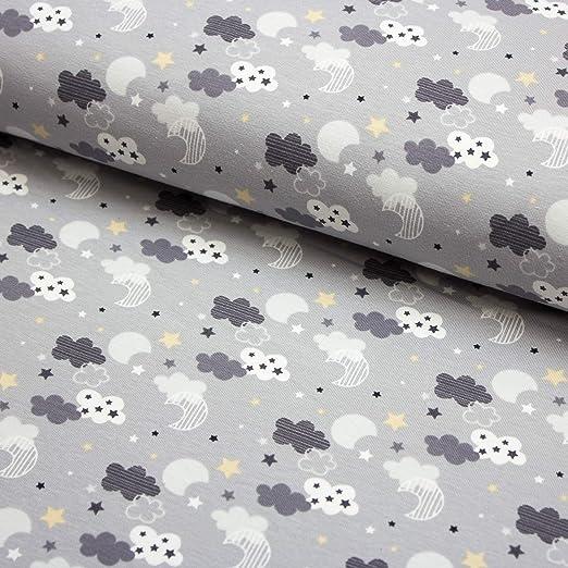 Tela de algodón jersey de luna, estrellas, nubes, varios Colores ...