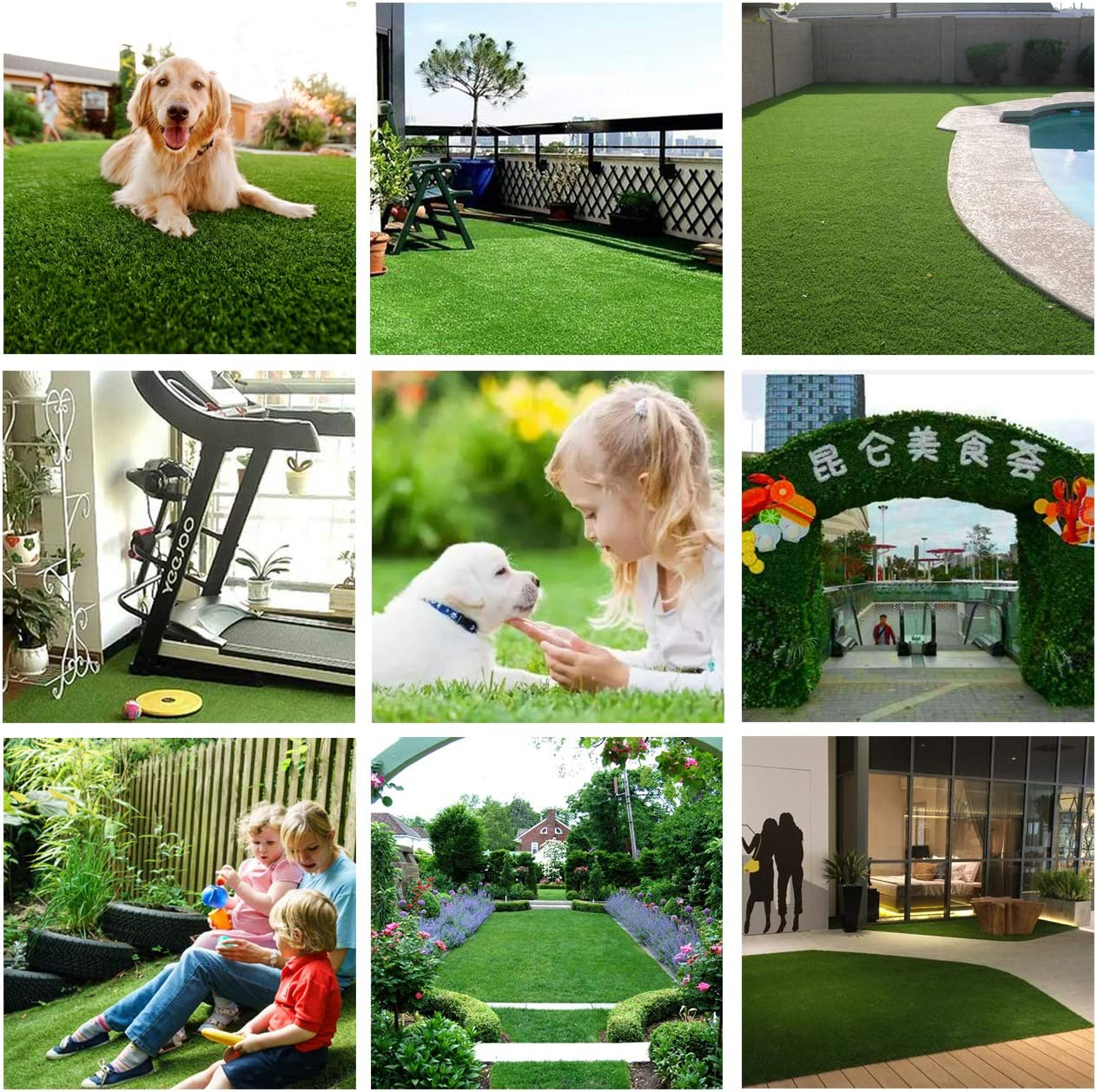 con respaldo de goma y agujeros de drenaje ideal para exteriores como jard/ín patio para mascotas c/ésped altura de la pila de 35 mm de espesor para mascotas o decoraci/ón al aire libre Alfombra de c/ésped artificial