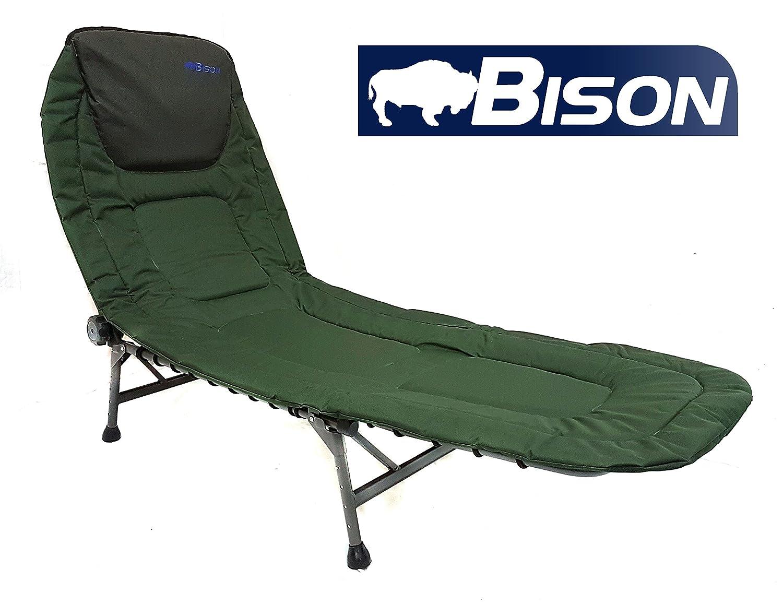 Lit de camp bison de pêche ou de camping bison 4 leg bedchair amazon fr sports et loisirs