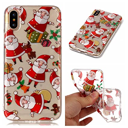 Christmas Iphone X Case.Honghushop Soft Silicone Case For Iphone X Iphone Xs Christmas Phone Cases Santa Claus Pattern Ultra Slim Fit Thin Clear Transparent Back Cover