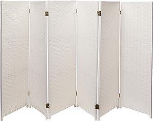 Oriental Furniture 4 ft. Tall Woven Fiber Room Divider - White - 6 Panel