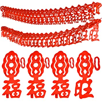 gejoy 6 pieces chinese new year banner good luck garland for spring festival decoration