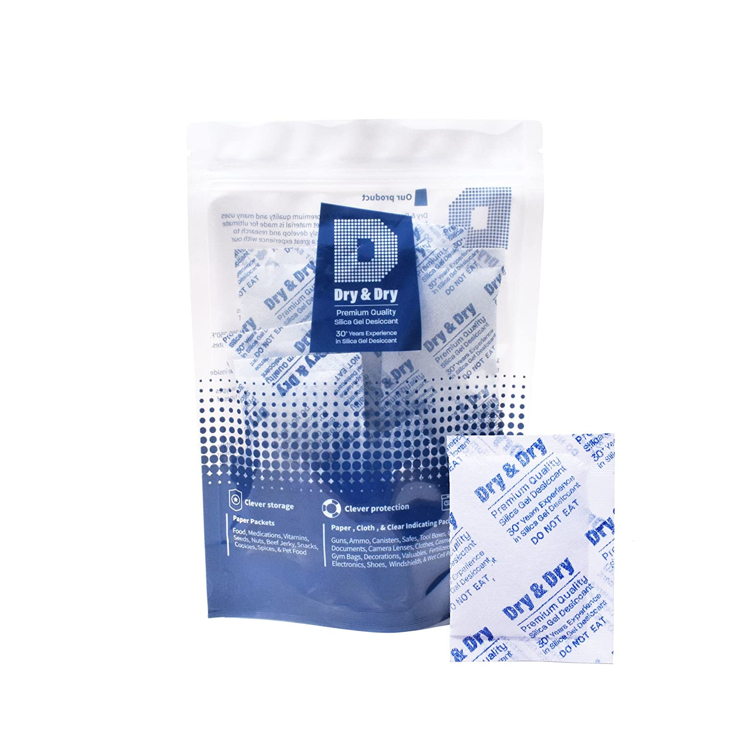 Dry & Dry 10 Gram [10-2000 Packs] Premium Pure & Safe Silica Gel Packets Desiccant Silica Gel Silica Gel Packs - Rechargeable Fabric Silica Packets for Moisture Absorber(30 Packets)