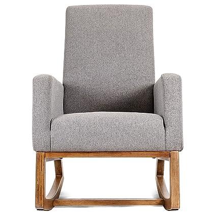 Excellent Mid Century Retro Modern Fabric Upholstered Rocking Chair Rocking Chair Patio Outdoor Porch Rocker Furniture Garden Deck Wood Seat Chooseandbuy Beatyapartments Chair Design Images Beatyapartmentscom