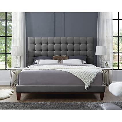 InspiredHome Light Grey Linen Bedframe   Design: Bond | Queen Size | Tufted  | Modern
