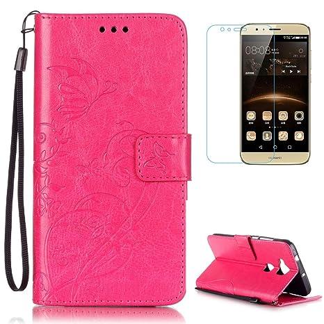 CaseHome Compatible For Huawei G8 Funda Piel PU Cuero Billetera,Mariposa y Flores,Carcasa en Libro [Flip][Card Slots] Protección Gota Prima Case con ...
