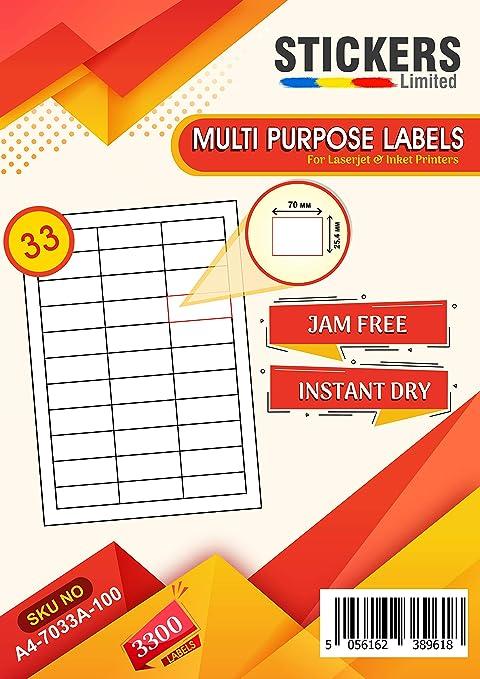 4 Per Sheet White Self Adhesive Blank A4 Printer Address Labels Matt Stickers