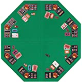 VIVOHOME Foldable 8-Player Texas Poker Card Tabletop Layout Portable Anti-Slip Rubber Board Game Mat with Cup Holders and Car